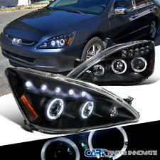 Fit 2003-2007 Honda Accord 2/4Dr Black LED Halo Projector Headlights Lamps Pair