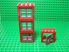 LEGO Lot of 4 Red 2x4x3 Windows with White Panes