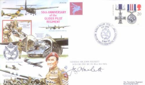AF7c WWII WW2 D-Day Arnhem Glider Pilot RAF cover signed SIR JOHN HACKETT DSO MC