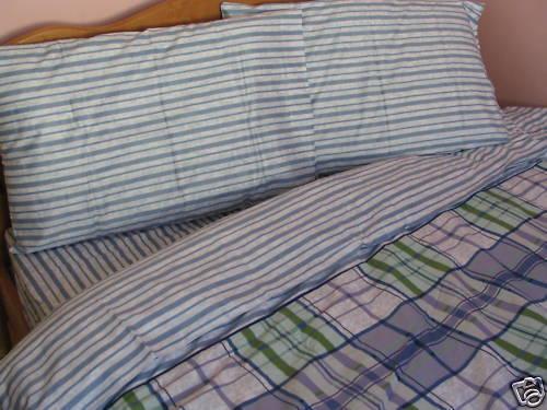 Cotton Navy bluee Plaids Twin Size Duvet Cover Bedding Set Green Stripe Floral