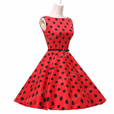 RED Vintage Polka Dot Retro 50s swing Pinup Housewife Dress Plus Size