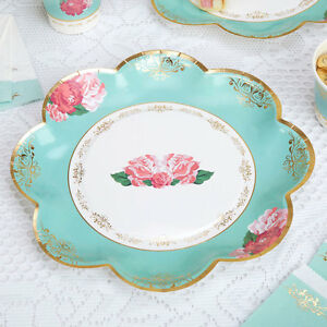 Image is loading 8-x-Vintage-Style-Tea-Party-Paper-Plates- & 8 x Vintage Style Tea Party Paper Plates Shabby Chic Rose Buffet ...