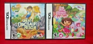 Dora-Birthday-Go-Diego-Dino-Rescue-Nintendo-DS-Lite-3DS-2DS-2-Game-Lot-Tested