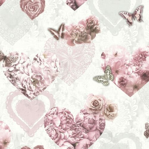 Arthouse Floral Hearts Pink White Glitter Wallpaper