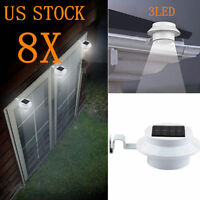 8x Outdoor Solar Powered 3 Led Wall Path Garden Landscape Fence Light Lamp