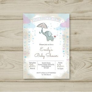 Details About Elephant Unisex Girl Boy Pink Blue Neutral Baby Shower Invitations Personalised