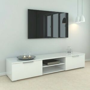 white wood tv stand Tvilum Match Wood TV Stand in White High Gloss with Two Drawers  white wood tv stand