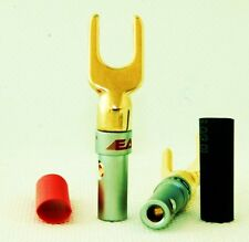 8 High Quality Speaker Banana Spade Plugs Audio Adapter 24K Gold E0515F USA