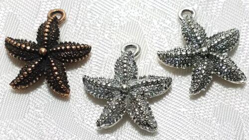 STAR FISH FINE PEWTER PENDANT CHARM 18mm L x 20.5mm W x 4.5mm D