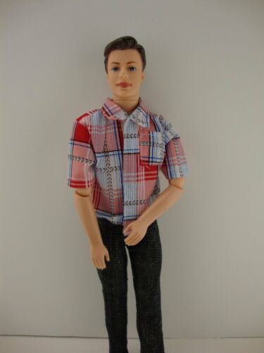 Ken 2 piece Doll Clothing Jeans and Red Checkered Shirt Made to Fit the Ken Doll