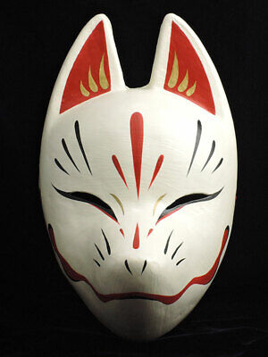 Japanese Kitsune Fox Mask White Red And Gold Suzune Traditional Hand Crafts Ebay