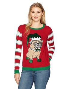 Details About Ugly Christmas Sweater Women S Elf Pug Sweater Cayenne Xs