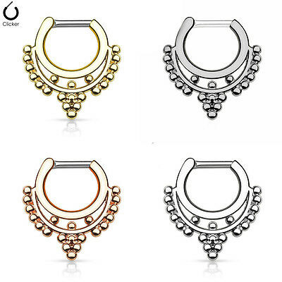 1pc Beaded Collar Septum Clicker 316L Surgical Steel 14 or 16g Nose Ring