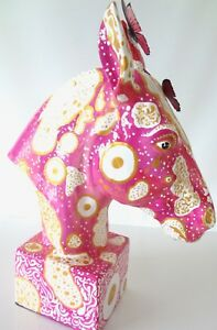 Horse-Statue-Artistic-Painted-Bust-PINK-Large-BEAUTIFUL-Rare-Decorative-Art