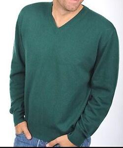 a da Balldiri inglese uomo verde scollo Cashmere V Xl con Pullover 100 xAwgwp1qa