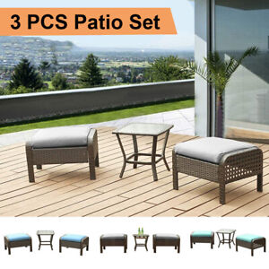 3 PCS Outdoor Patio Furniture Sets Rattan Wicker Sofa Ottoman Couch Chairs Table