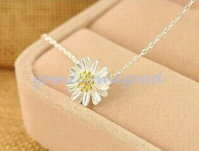925 Sterling Silver - Chrysanthemum Flower Daisy Lady Choker Necklace Chain Prom