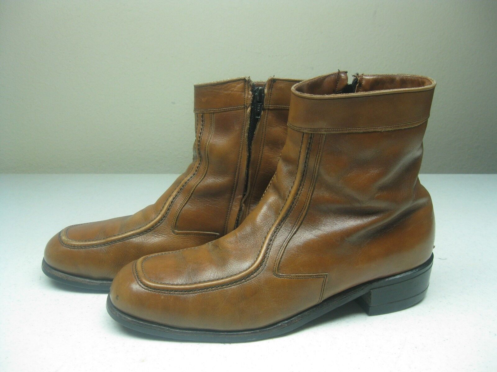 VINTAGE BROWN DISTRESSED USA STEEL TOE ROCKABILLY BEATLE BOOTS 9.5 D