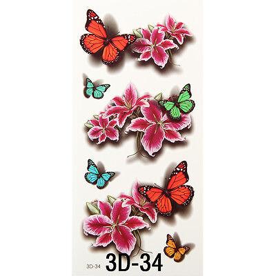 Waterproof Temporary Tattoos 3D Butterfly Flower Halloween Fake Tattoos Sticker
