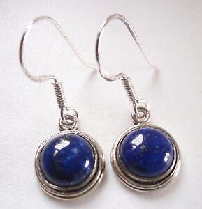 Blue-Lapis-Circles-925-Sterling-Silver-Dangle-Earrings-Round-Corona-Sun-Jewelry