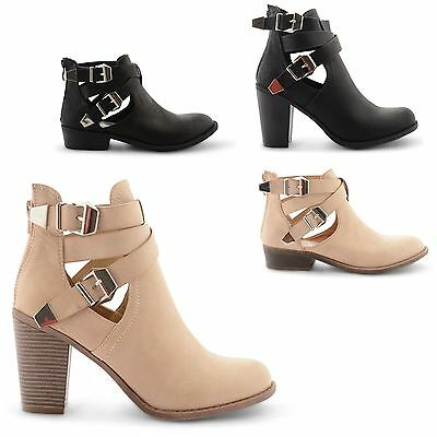 NEW WOMENS LADIES HIGH HEEL BLOCK CUT OUT CHELSEA ANKLE SHOE BOOTS BOOTIES SIZE