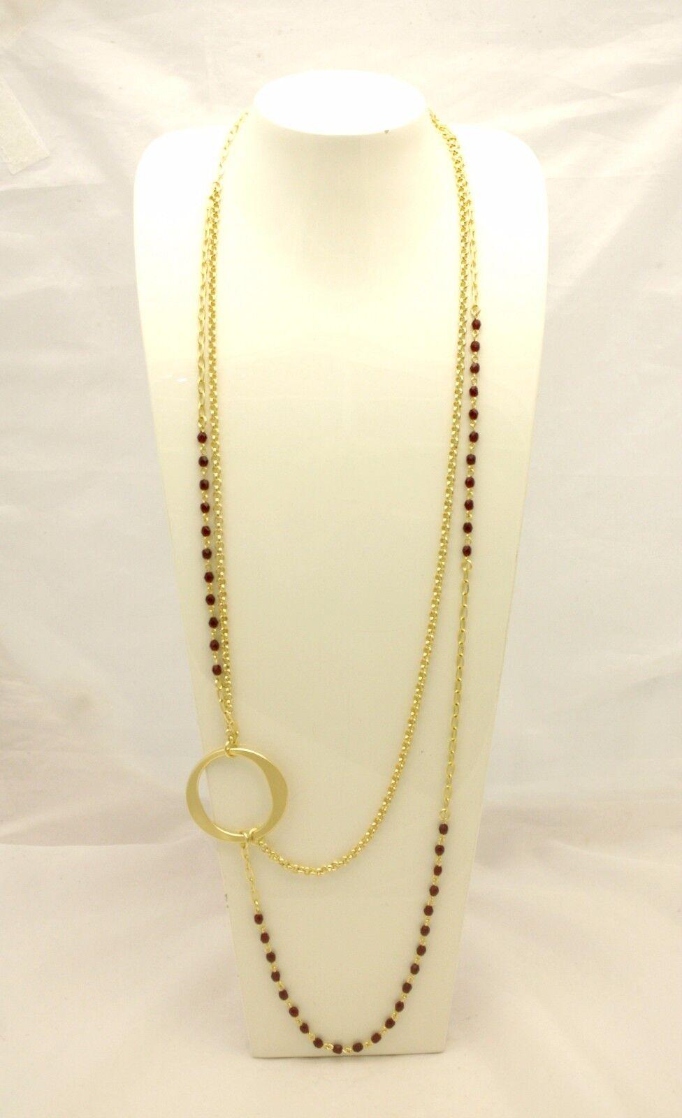 Collana lunga 1AR in ottone dorato e cristalli bordeaux