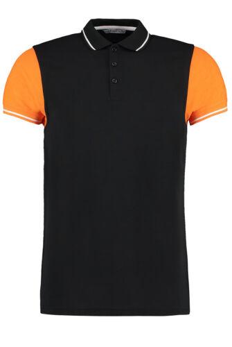 KK415 Kustom Kit Men/'s Contrast Tipped Polo Shirt Short Sleeve Two Tone Top