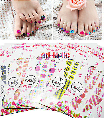 22 Tips Toe Nail Glitter Stickers Decals Transfer Foil Patch Pedicure Decoration
