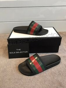 fb0de80680cd4d 100% Authentic Gucci Slides Men s Black Flip Flops Sandals Brand New ...