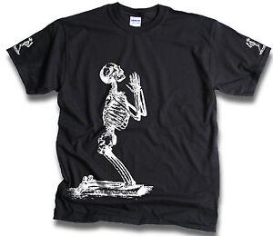 Funny-Praying-Skeleton-Prayer-T-Shirt-Sm-3XL-Gothic-Bones-Biker-Death-Skull