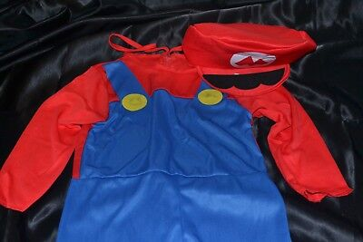 Super Mario Brothers Bros Full Halloween Costume Fits Kids Size 11-12 Boys XL