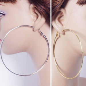 Smooth-Large-Hoop-Earrings-925-Silver-Plated-8-10CM-Big-Hoops-Statement-Jewelry