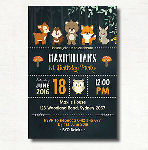 Image Is Loading WOODLAND ANIMAL Chalkboard Birthday Invitation Party Supplies Cute