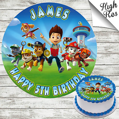 Strange Paw Patrol Round Edible Birthday Cake Topper Decoration Funny Birthday Cards Online Sheoxdamsfinfo