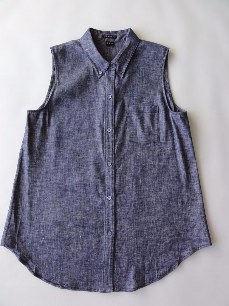 THEORY YARINE TIERRA SLEEVELESS DOWN BUTTON TOP SHIRT, Deep denim, Größe L, 245