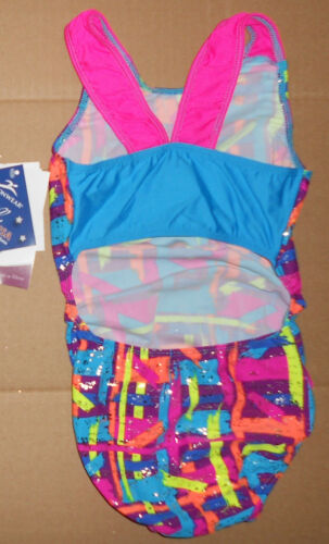NWT Motionwear Gymnastic Racer Tank Open Back Foil Neon Multi Color Child Sizes