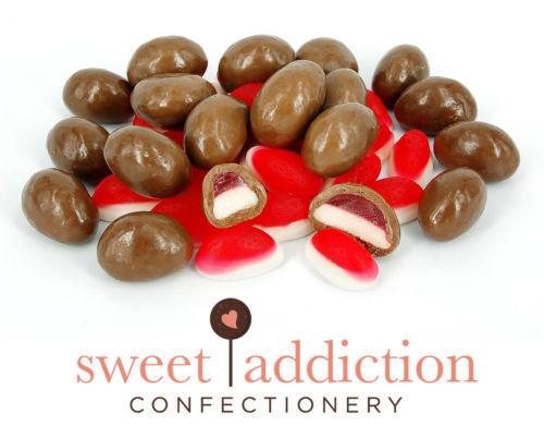 1kg Premium Milk Chocolate Covered Strawberry and Cream Jelly Lollies Bulk Choc