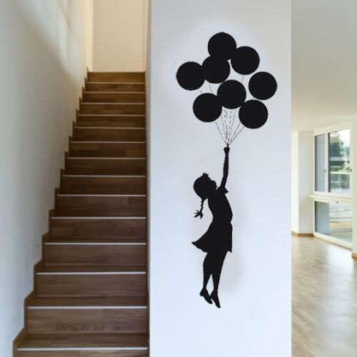 VINILO DECORATIVO PARA PARED CALIDAD EXTRA -FLYING BALLOONS-BANKSY STYLE