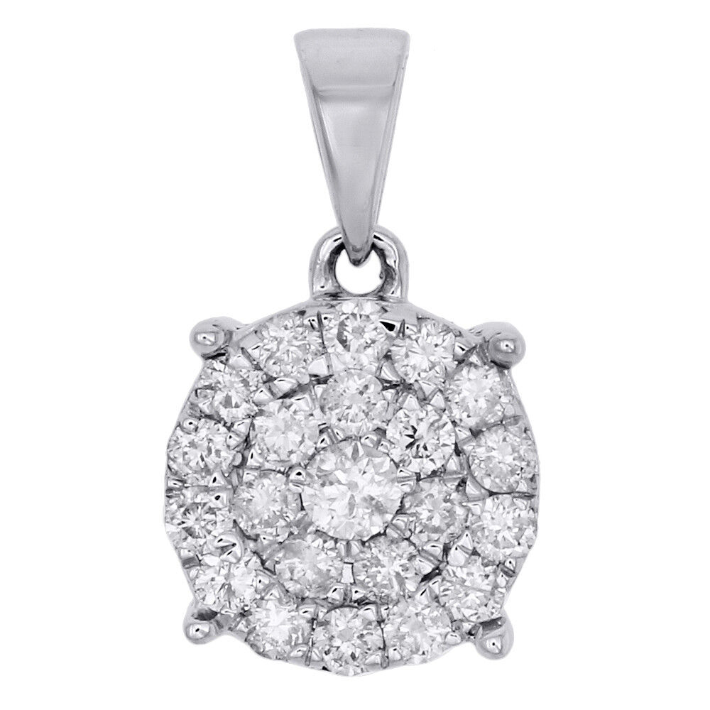 10K White gold Diamond Circle Pendant Ladies Cluster Charm 0.75 CT.