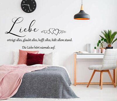 Wandtattoo Liebe Ertragt Alles Wandaufkleber Wandsticker Aa469 Schlafzimmer Ebay