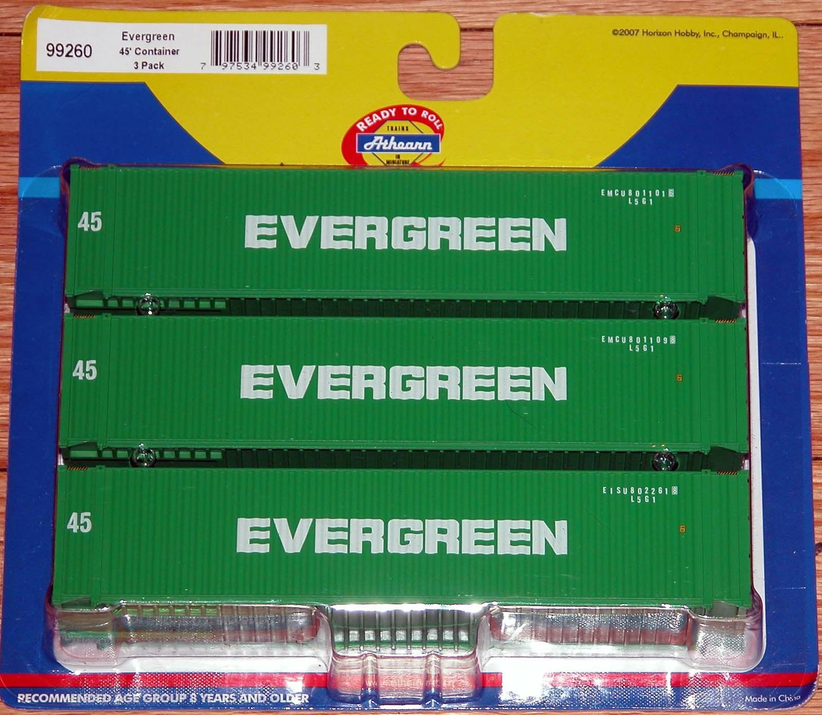 ATHEARN 99260 45' CONTAINER 3PACK EVERverde