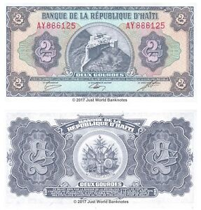 Haiti-2-Gourdes-ND-1986-88-P-245A-Banknotes-UNC