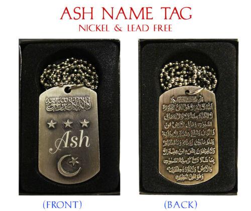 Collar de nombre de ceniza Etiqueta Musulmán Árabe Ayatul kursi Corán Hombres//Joyas él Eid