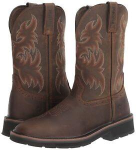 Men-Wolverine-Rancher-Dk-Brown-Rust-Sq-Toe-Wellington-Work-Boots-Shoes-Sz-11-EW