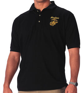Black-US-Marines-Polo-Shirt-Military-Golf-Top-Gold-G-amp-A-Marine-Corps-USMC-Eagle