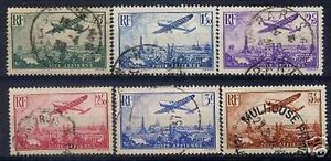 FRANCE-STAMP-POSTE-AERIENNE-8-13-034-AVION-PARIS-6-TIMBRES-1936-034-OBLITERES-TB