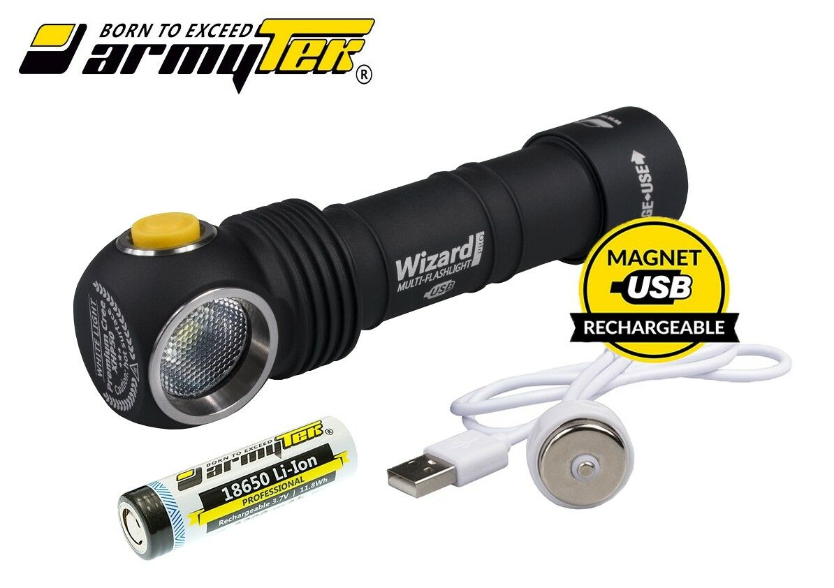 New Armytek Wizard Pro v3 Magnet USB Cree XHP50 2150Lumens LED Headlight W 18650