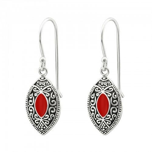 925 Sterling Silver Red Patterned Marquise Drop//Dangle Earrings