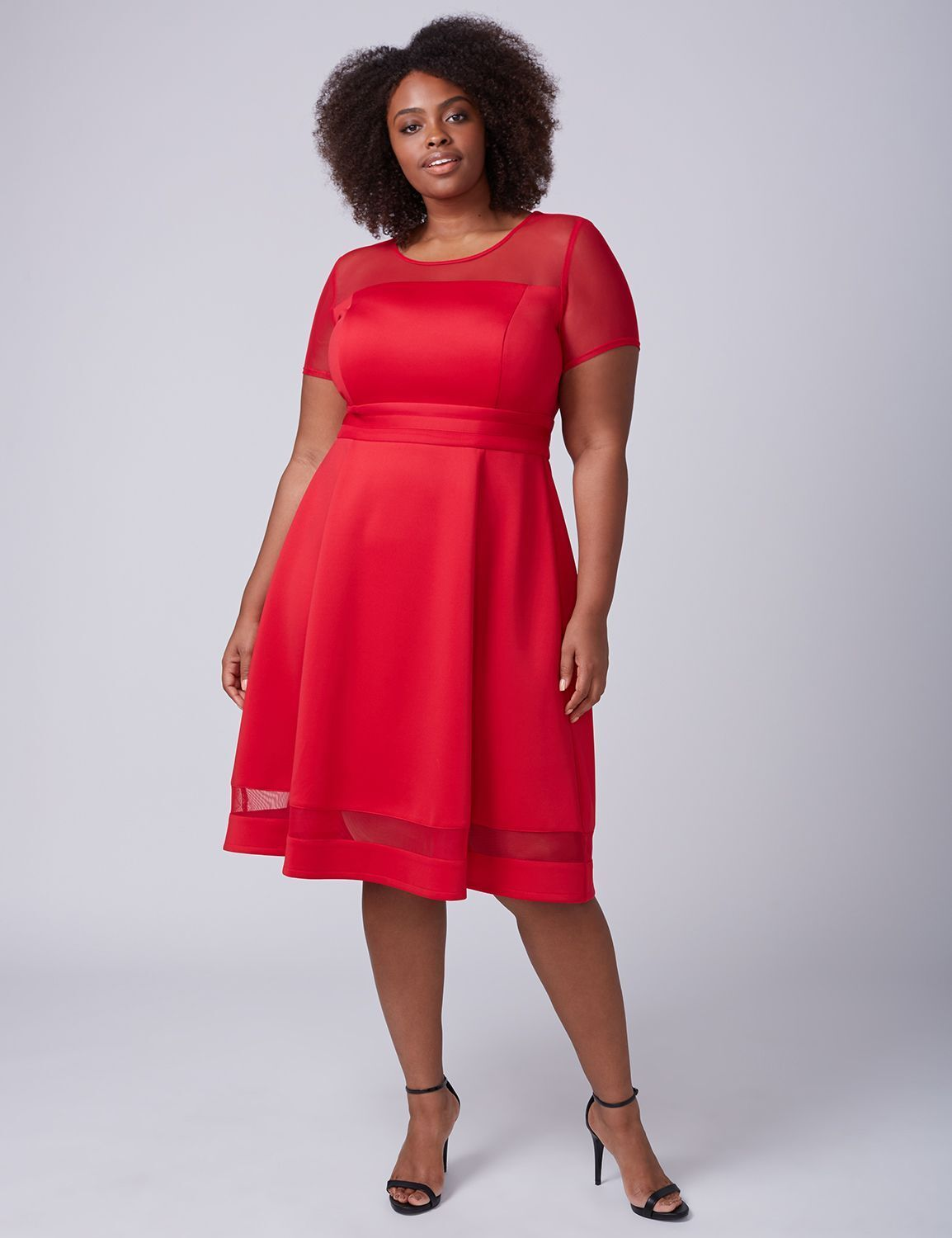 NEW LANE BRYANT PLUS SIZE RED MESH SLEEVE SCUBA FIT & FLARE DRESS SZ 14 16