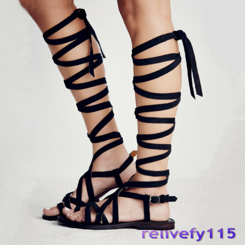 Women Cow Leather Lace Up Straps Knee High Roman Gladiator Sandals Flats Oxfords